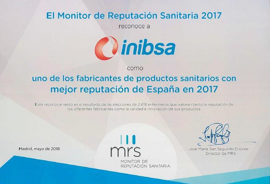 Inibsa Hospital resulta finalista del premio a las compañías fabricantes de productos sanitarios con mejor reputación en España
